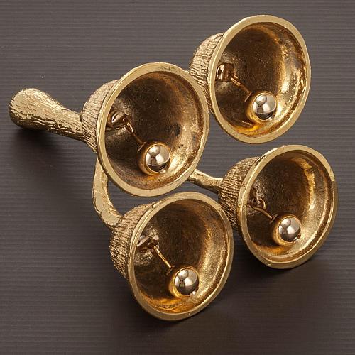 Altar bell, 4 sounds in golden brass 4