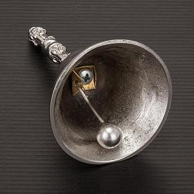 Campanello liturgico a un suono argentato con manico s3