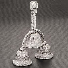 Dzwonek liturgiczny potrójny posrebrzany rowkowany s2