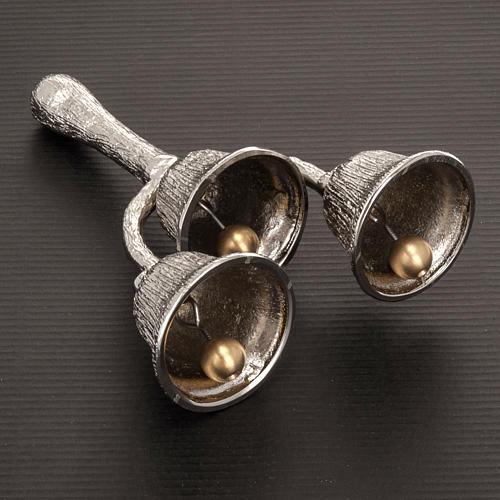 Dzwonek liturgiczny potrójny posrebrzany rowkowany 3
