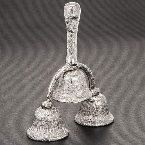 Church hand bell three-sound silver plated 2