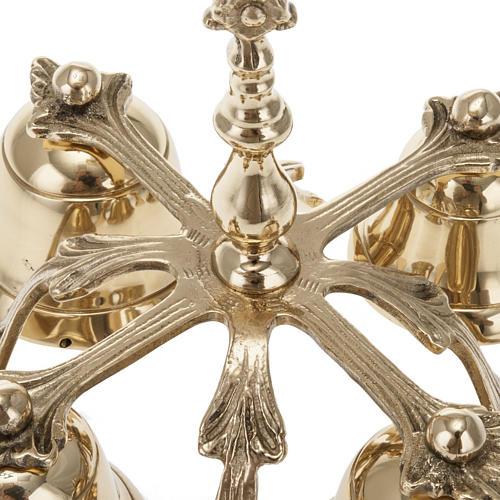 Campanello liturgico a quattro suoni decorato dorato 2