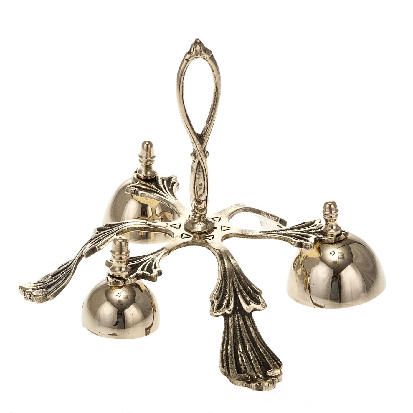 Campanello liturgico a tre suoni decorato dorato 3