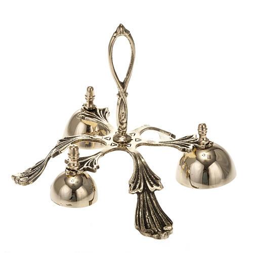 Campanello liturgico a tre suoni decorato dorato 1
