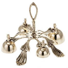 Campanello liturgico a quattro suoni decorato dorato s1