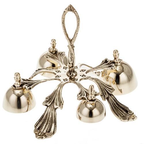 Campanello liturgico a quattro suoni decorato dorato 1