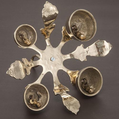 Campanello liturgico a quattro suoni decorato dorato 4