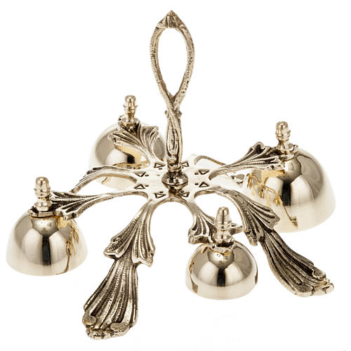 Church hand bell four sounds golden-plated decorated 1
