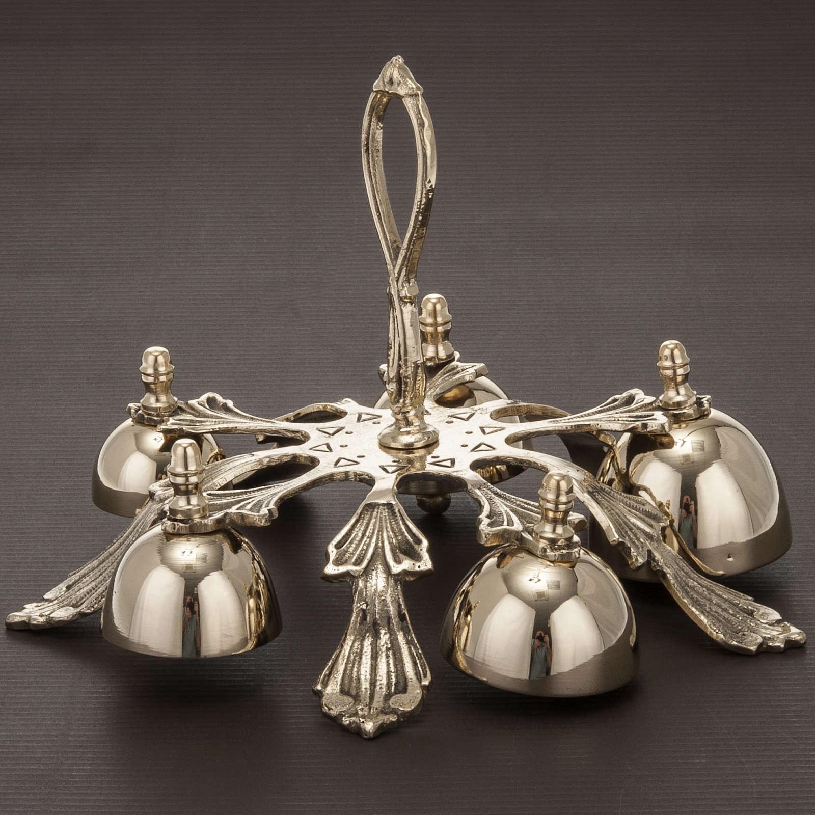 Dzwonek liturgiczny pięcioelementowy dekorowany pozłacany 3