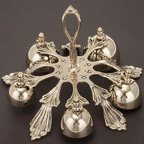 Dzwonek liturgiczny pięcioelementowy dekorowany pozłacany s2
