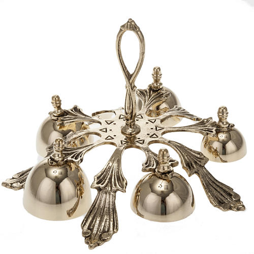 Dzwonek liturgiczny pięcioelementowy dekorowany pozłacany 1
