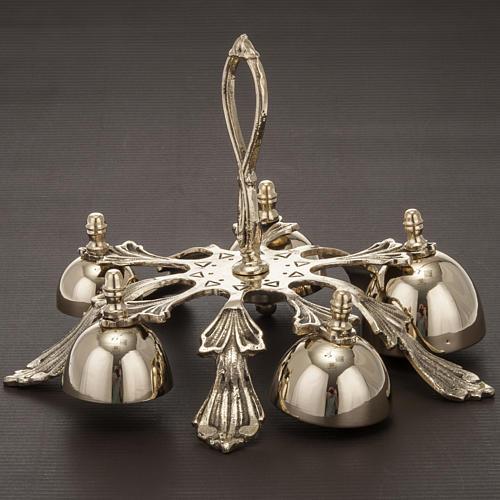 Dzwonek liturgiczny pięcioelementowy dekorowany pozłacany 4