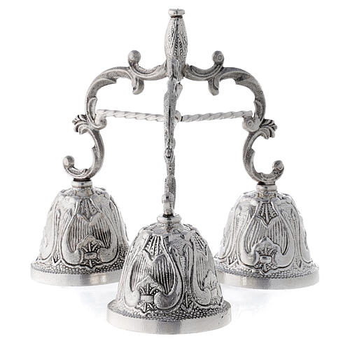Liturgical bell three sound silver plated bronze 3
