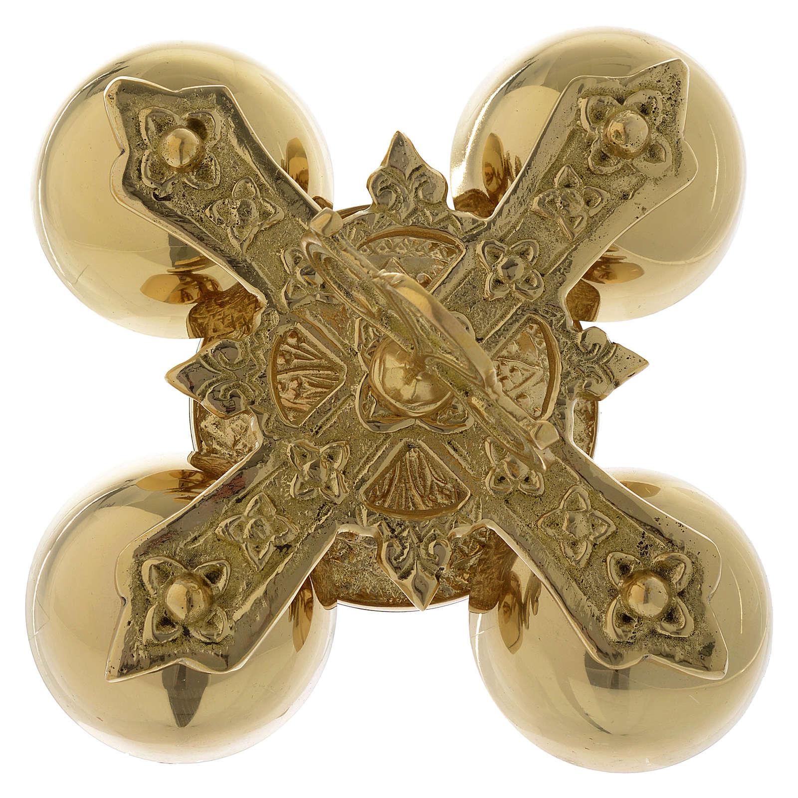 Campanilla litúrgica cuatro sonidos latón dorado 3