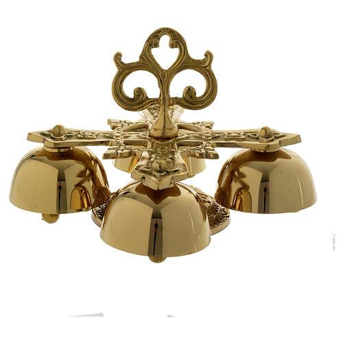 Campanilla litúrgica cuatro sonidos latón dorado 2