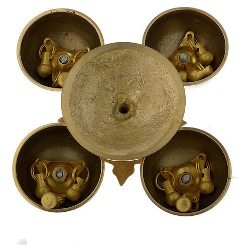 Campanilla litúrgica cuatro sonidos latón dorado 4