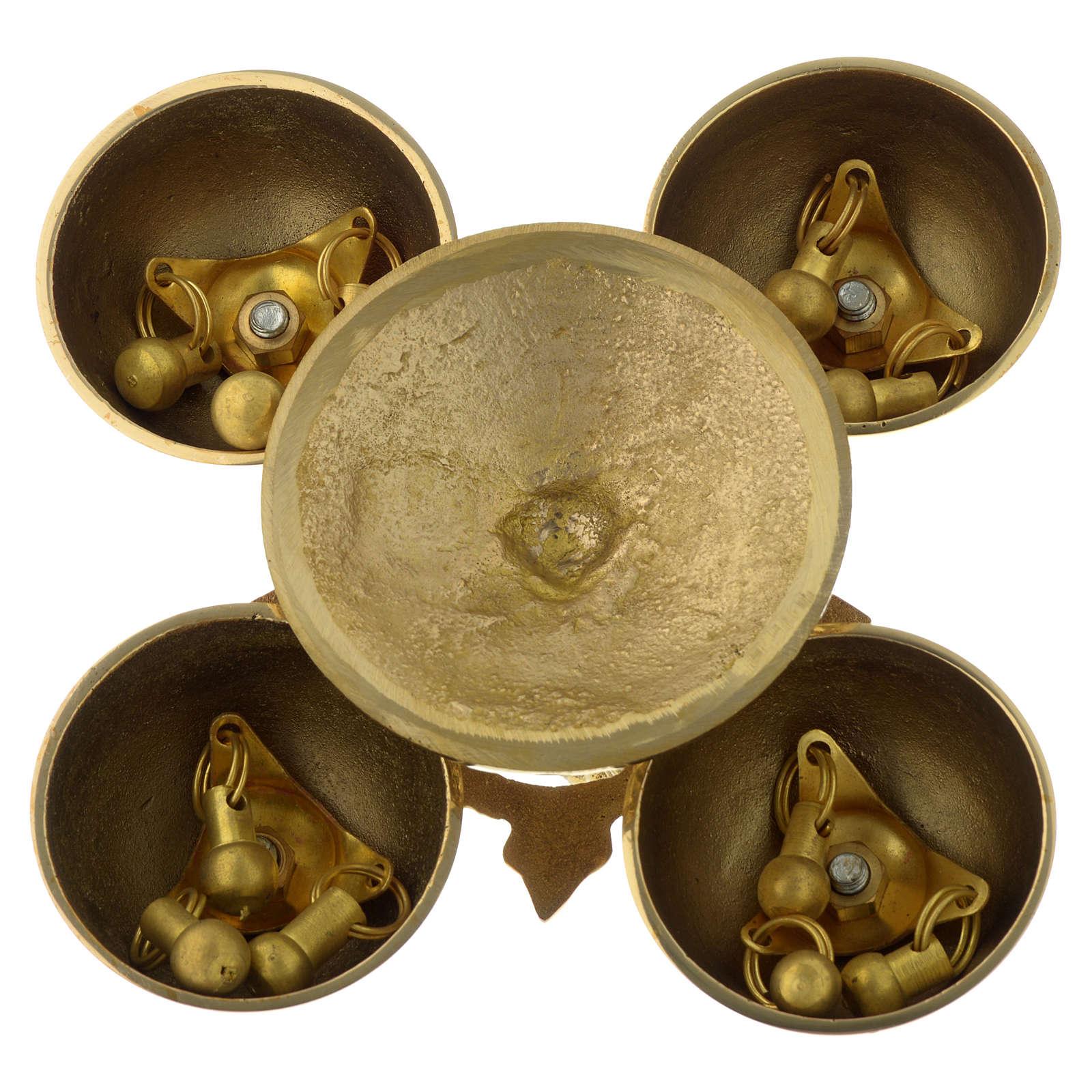 Campanello liturgico quattro suoni ottone dorato 3