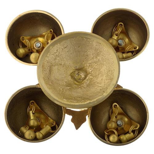 Campanello liturgico quattro suoni ottone dorato 9