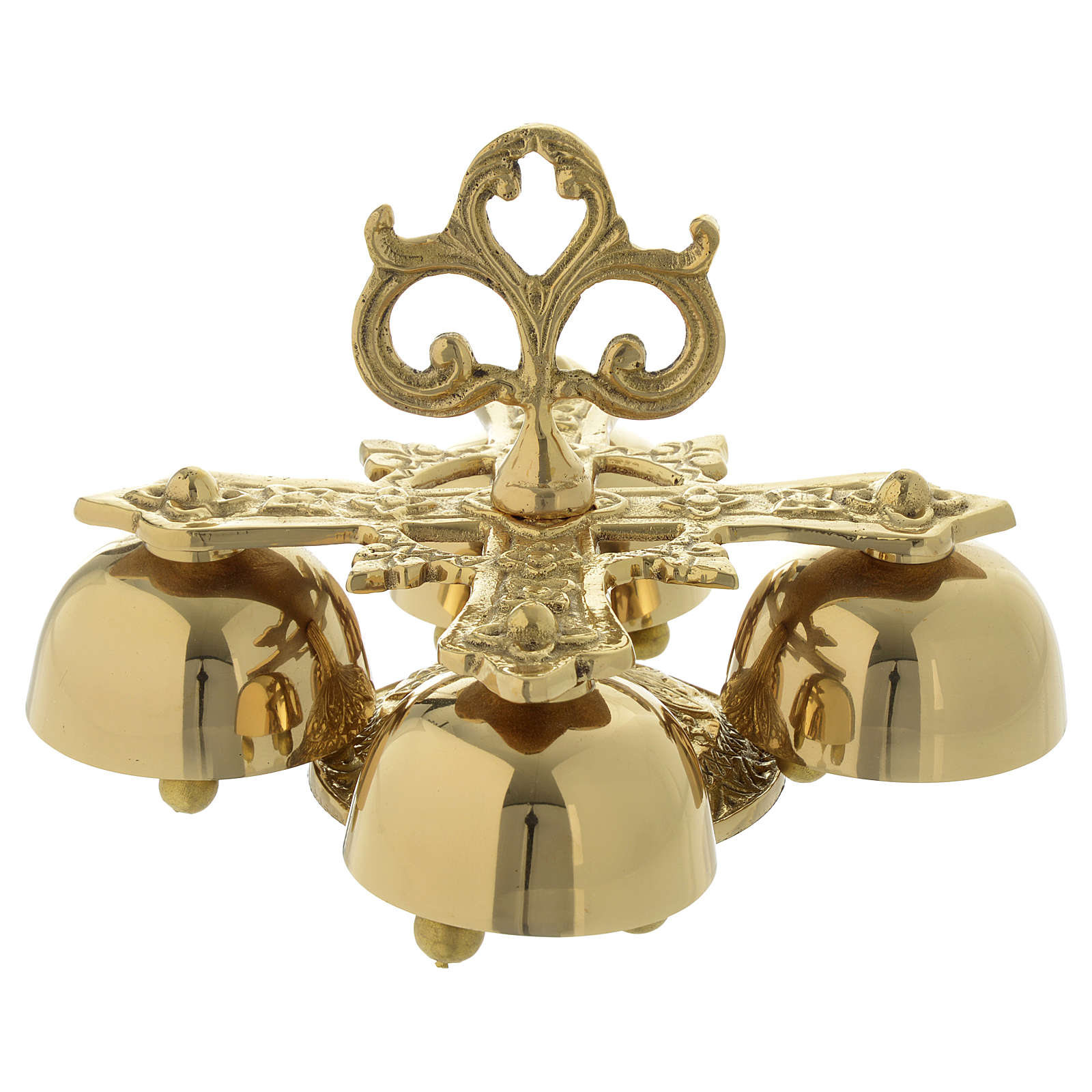 Liturgical bell with 4 sounds in gold-plated brass 3