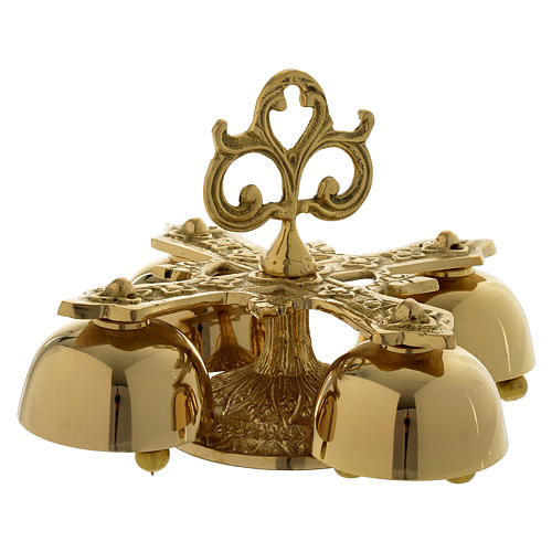 Liturgical bell with 4 sounds in gold-plated brass 1