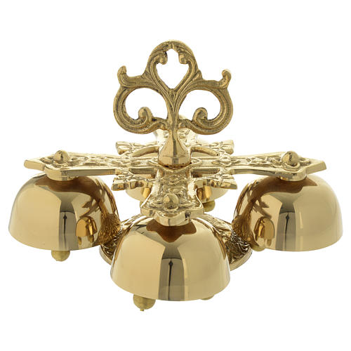 Liturgical bell with 4 sounds in gold-plated brass 7