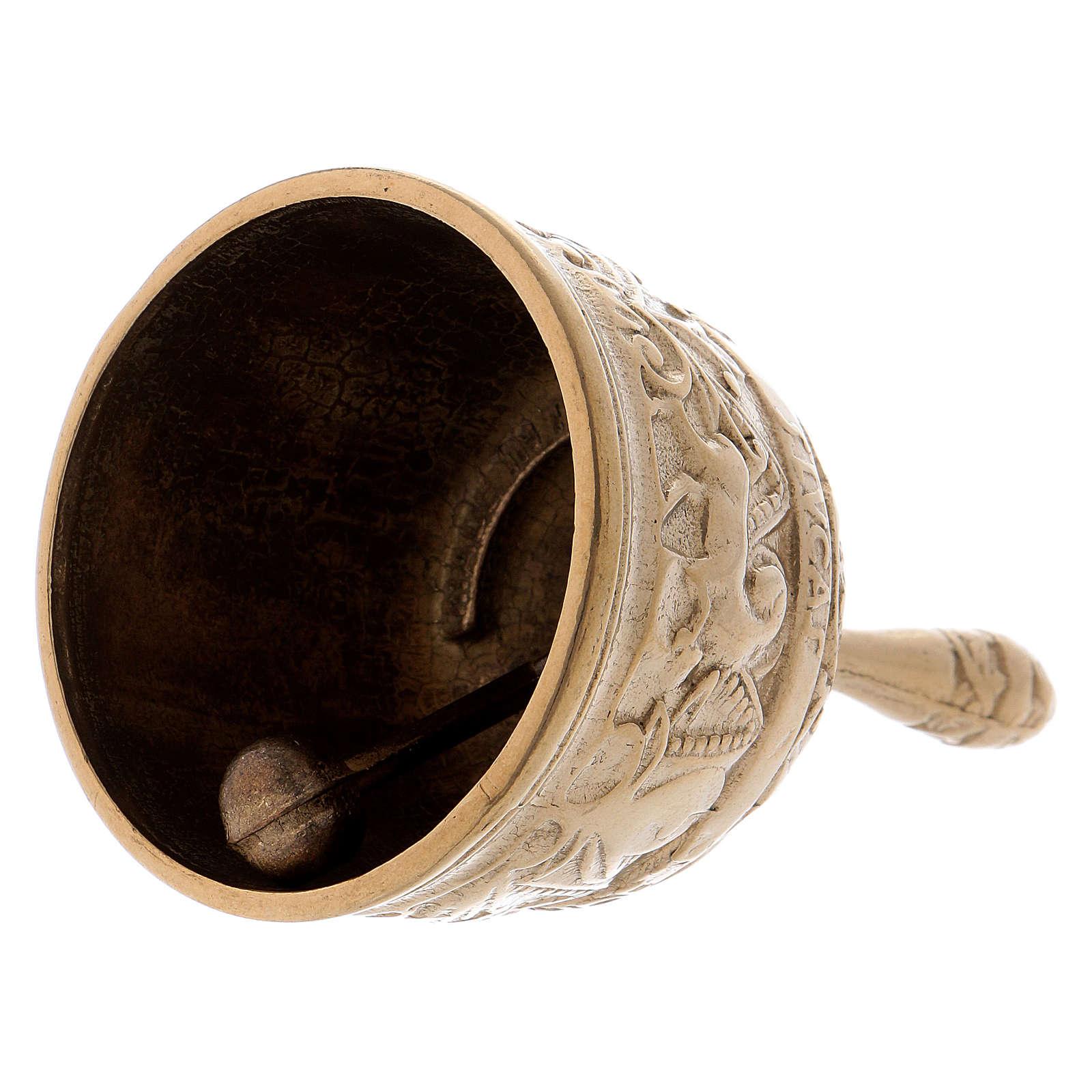 Dzwonek mosiądz pozłacany antykowany z Ewangelistami 3