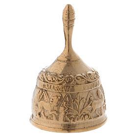 Dzwonek mosiądz pozłacany antykowany z Ewangelistami s3