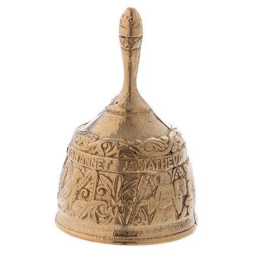 Dzwonek mosiądz pozłacany antykowany z Ewangelistami 1