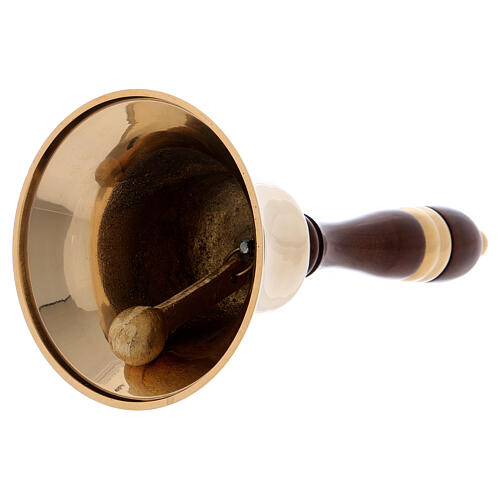 Liturgical bell in gilded brass with wooden handle 22 cm 2
