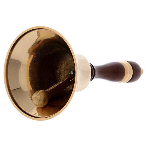 Campanello Liturgico ottone dorato e manico in legno 22 cm 2