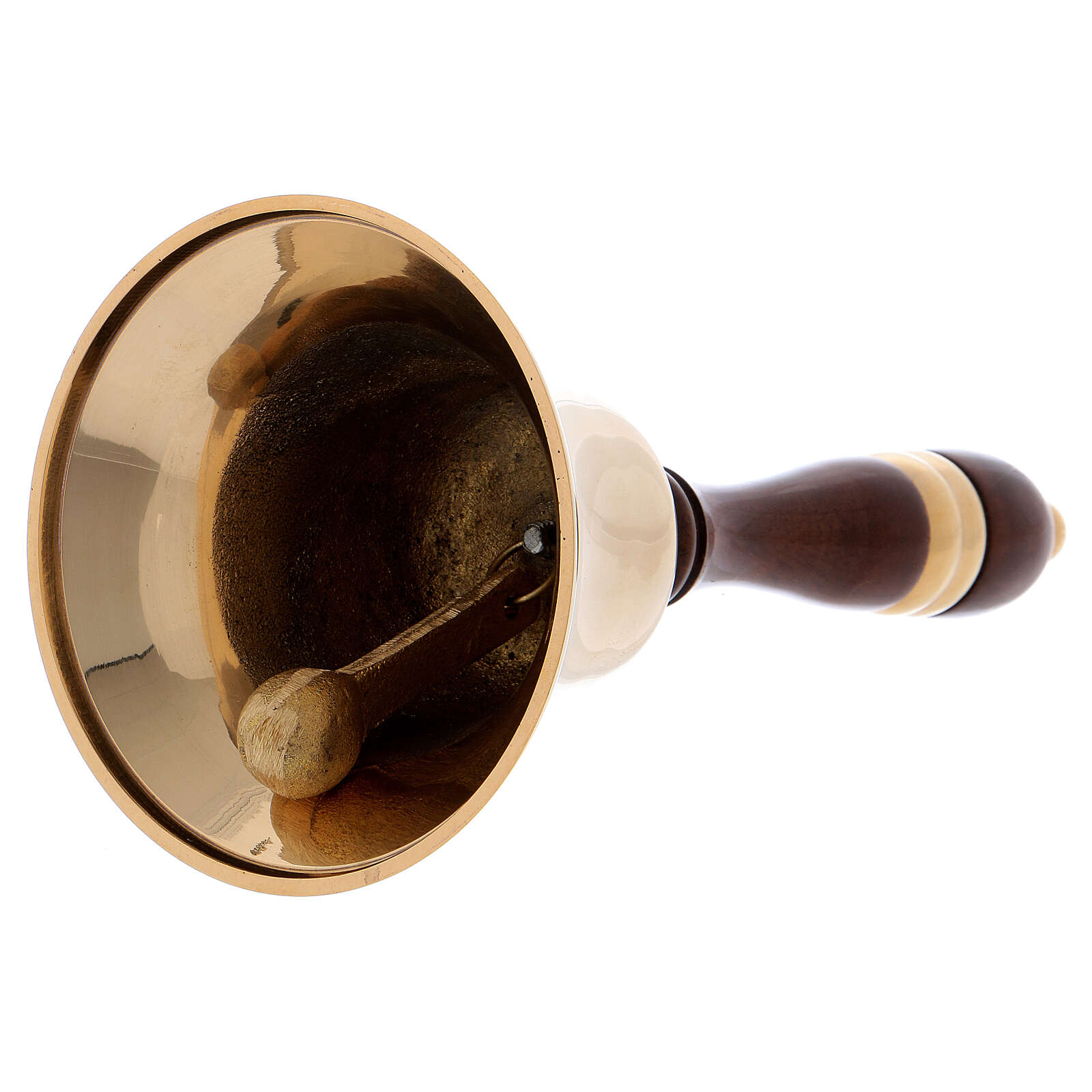Liturgical bell in gold plated brass with wood handle 8 3/4 in 3