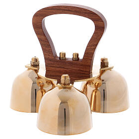 Liturgical bell 3 sounds with wooden handle s1