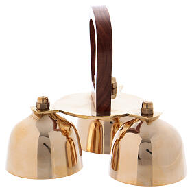 Liturgical bell 3 sounds with wooden handle s2