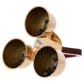 Liturgical bell 3 sounds with wooden handle s3