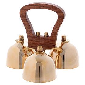 Altar bells 3 tones wood handle s1