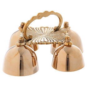 Altar bell with 4 sounds in decorated golden brass s1