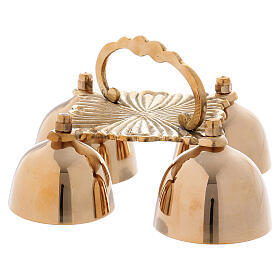 Altar bell with 4 sounds in decorated golden brass s3