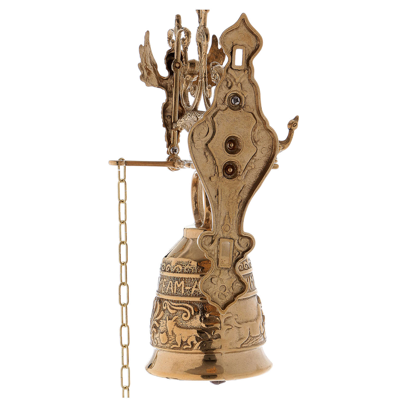 Wall liturgical bell with chain h 13 in 3