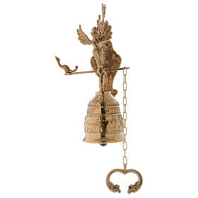 Wall liturgical bell with chain h 13 in s3