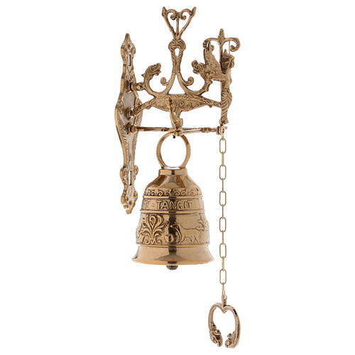 Wall liturgical bell with chain h 13 in 1