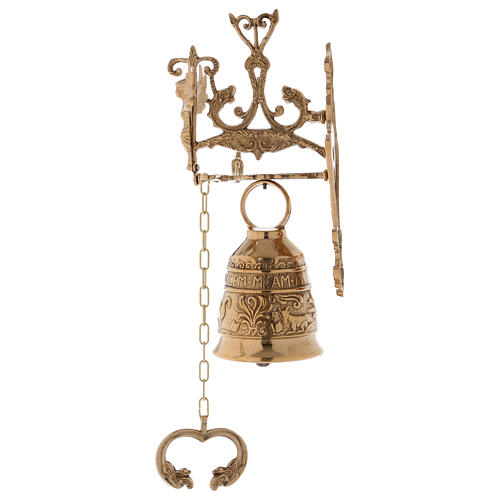 Wall liturgical bell with chain h 13 in 2