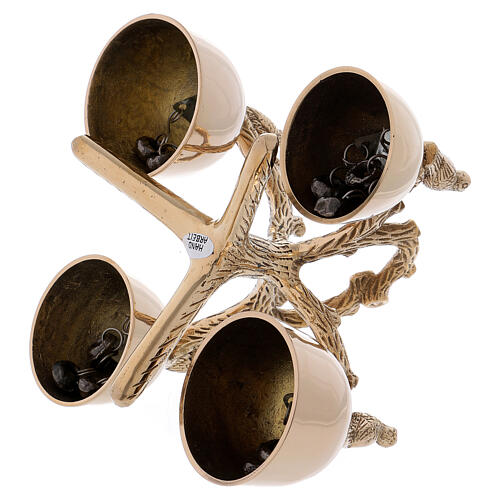 Liturgical bell 4 sounds with birds and branches in golden brass 3