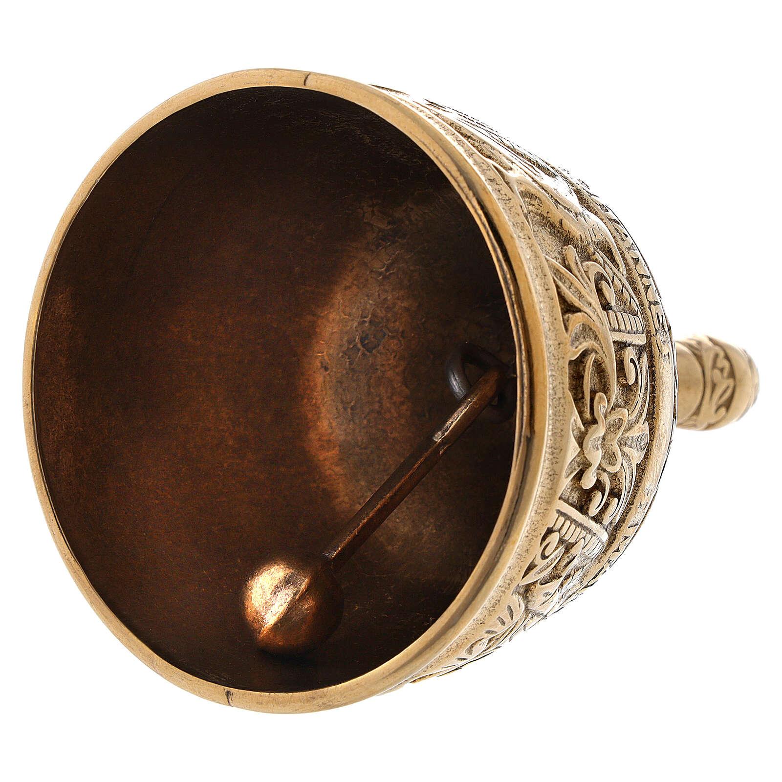 Liturgical bell four evangelists in golden brass 3