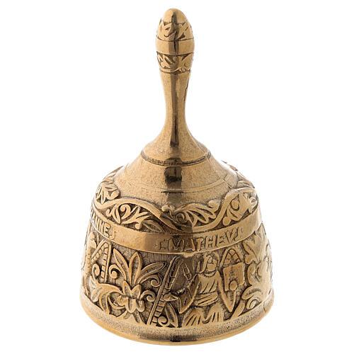 Liturgical bell four evangelists in golden brass 1