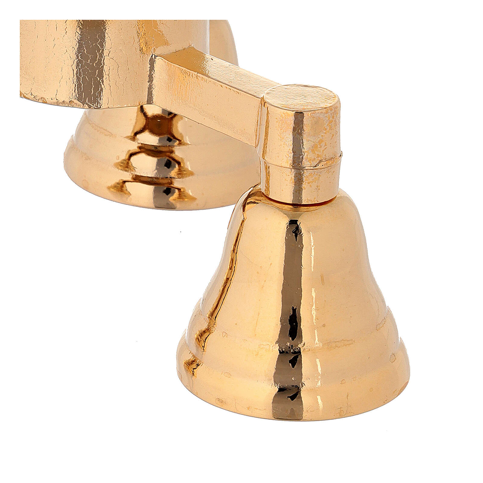 Brass bell with three sounds in golden brass 3