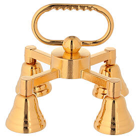 Brass bell with four sounds in golden brass s1