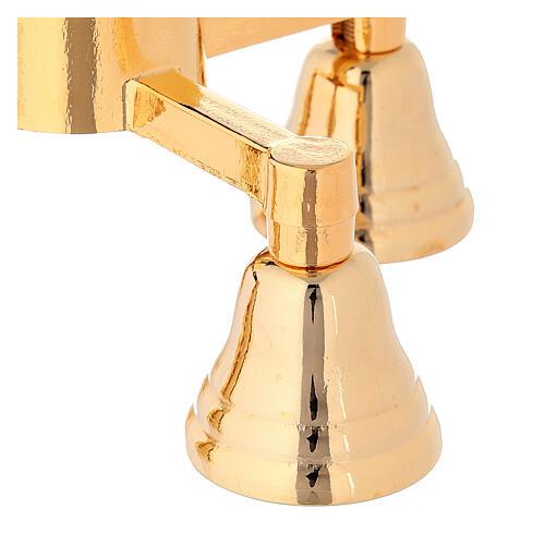 Clochette liturgique trois sons doré avec manche en bois 2