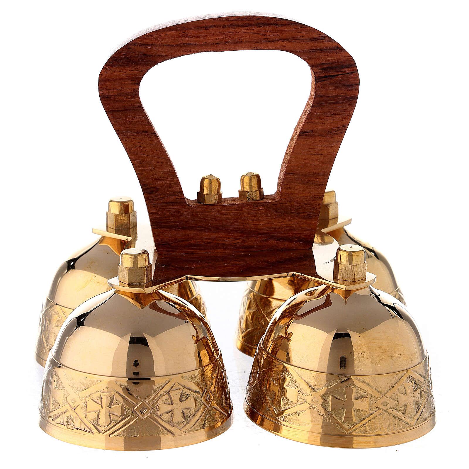 Clochette liturgique 4 sons manches bois laiton 3