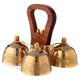 Clochette liturgique 4 sons manches bois laiton s2