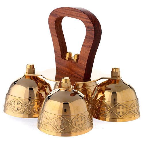 Clochette liturgique 4 sons manches bois laiton 2